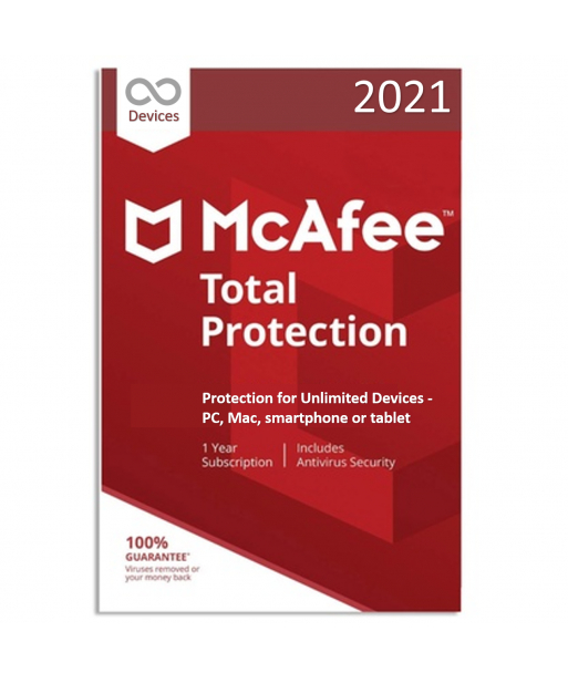 McAfee Total Protection 2021 - Unlimited Devices | 1 Year