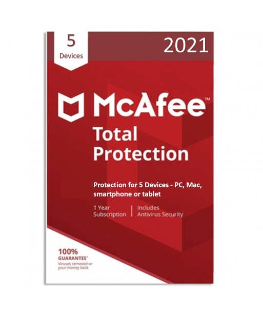McAfee Total Protection 2021 - 5 Devices | 1 Year