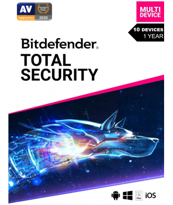 Bitdefender Total Security 2021 - 10 Devices | 1 Year