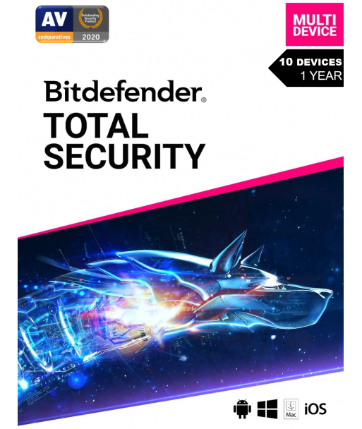 Bitdefender Total Security 2021 - 10 Devices   1 Year