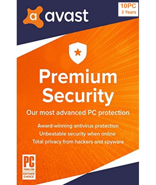 Avast Premium Security 2021 - 10PCs   3 Years